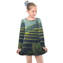 Scenic View Of Rice Paddy Kids  Long Sleeve Dress