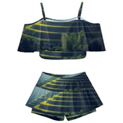 Scenic View Of Rice Paddy Kids  Off Shoulder Skirt Bikini