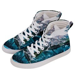 Daylight Forest Glossy Lake Men s Hi Top Skate Sneakers by Samandel