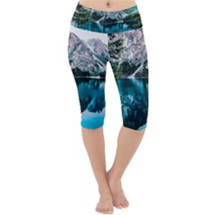 Daylight Forest Glossy Lake Lightweight Velour Cropped Yoga Leggings