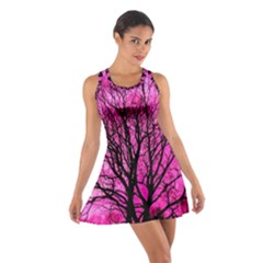 Pink Silhouette Tree Cotton Racerback Dress