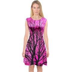 Pink Silhouette Tree Capsleeve Midi Dress