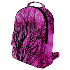 Pink Silhouette Tree Flap Pocket Backpack (small)