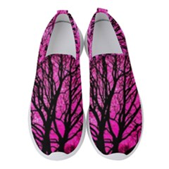 Pink Silhouette Tree Women s Slip On Sneakers