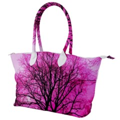 Pink Silhouette Tree Canvas Shoulder Bag