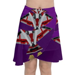 Toy Plane Outer Space Launching Chiffon Wrap Front Skirt