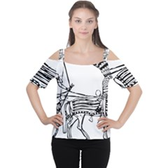 Line Art Drawing Ancient Chariot Cutout Shoulder Tee