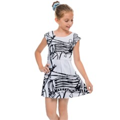 Line Art Drawing Ancient Chariot Kids Cap Sleeve Dress
