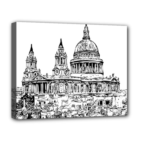 Line Art Architecture Church Deluxe Canvas 20  X 16  (stretched)
