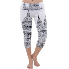 Line Art Architecture Church Capri Yoga Leggings