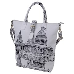 Line Art Architecture Church Buckle Top Tote Bag by Samandel