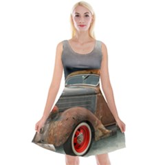 Auto Old Car Automotive Retro Reversible Velvet Sleeveless Dress