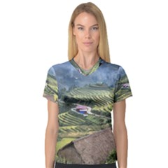Rock Scenery The H Mong People Home V Neck Sport Mesh Tee