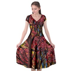 Autumn Colorful Nature Trees Cap Sleeve Wrap Front Dress