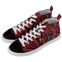 Autumn Colorful Nature Trees Men s Mid Top Canvas Sneakers by Samandel