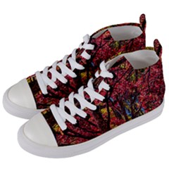 Autumn Colorful Nature Trees Women s Mid Top Canvas Sneakers by Samandel