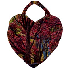 Autumn Colorful Nature Trees Giant Heart Shaped Tote by Samandel