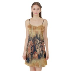 Head Horse Animal Vintage Satin Night Slip