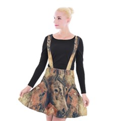 Head Horse Animal Vintage Suspender Skater Skirt