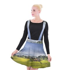 Vietnam Terraces Rice Silk Suspender Skater Skirt