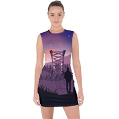Dusk Sunset Dawn Sky Evening Lace Up Front Bodycon Dress
