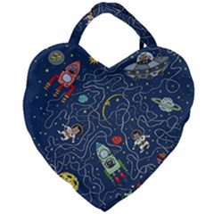 Cat Cosmos Cosmonaut Rocket Giant Heart Shaped Tote by Samandel