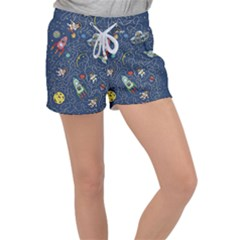 Cat Cosmos Cosmonaut Rocket Women s Velour Lounge Shorts