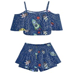 Cat Cosmos Cosmonaut Rocket Kids  Off Shoulder Skirt Bikini