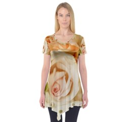 Roses Plate Romantic Blossom Bloom Short Sleeve Tunic