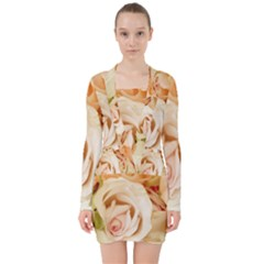 Roses Plate Romantic Blossom Bloom V Neck Bodycon Long Sleeve Dress