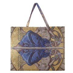 Mosaic Painting Glass Decoration Zipper Large Tote Bag by Samandel