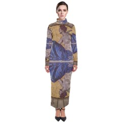 Mosaic Painting Glass Decoration Turtleneck Maxi Dress