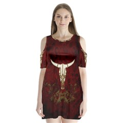 Awesome Cow Skeleton Shoulder Cutout Velvet One Piece
