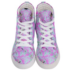 Hot Pink And White Peppermint Twist Flower Petals Men s Hi Top Skate Sneakers