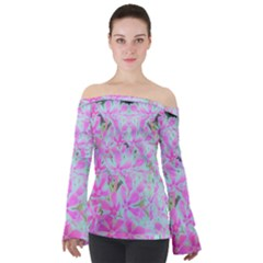 Hot Pink And White Peppermint Twist Flower Petals Off Shoulder Long Sleeve Top by myrubiogarden