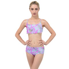 Hot Pink And White Peppermint Twist Flower Petals Layered Top Bikini Set