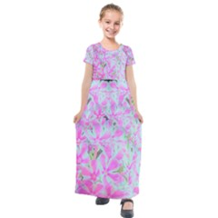 Hot Pink And White Peppermint Twist Flower Petals Kids  Short Sleeve Maxi Dress by myrubiogarden