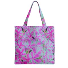 Hot Pink And White Peppermint Twist Flower Petals Grocery Tote Bag by myrubiogarden