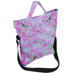 Hot Pink And White Peppermint Twist Flower Petals Fold Over Handle Tote Bag by myrubiogarden