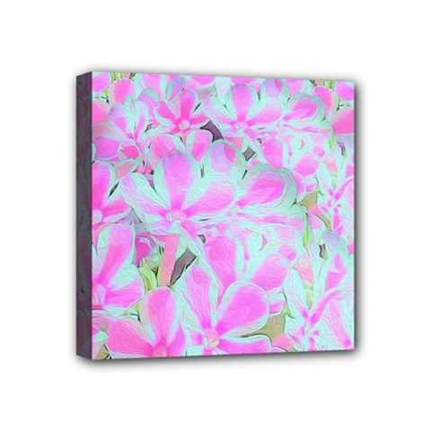 Hot Pink And White Peppermint Twist Flower Petals Mini Canvas 4  X 4  (stretched) by myrubiogarden