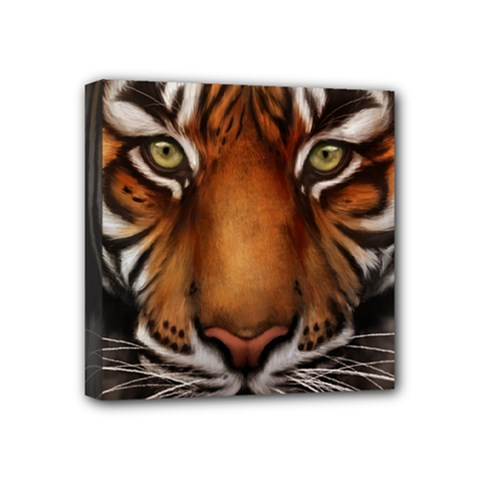 The Tiger Face Mini Canvas 4  X 4  (stretched)