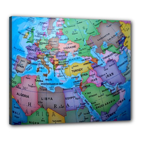 Globe World Map Maps Europe Canvas 24  X 20  (stretched)
