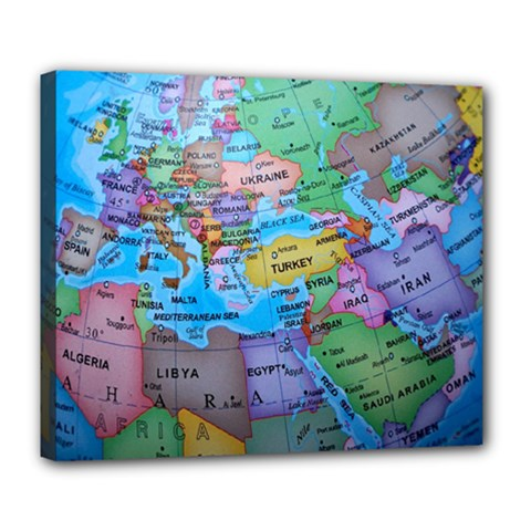 Globe World Map Maps Europe Deluxe Canvas 24  X 20  (stretched)