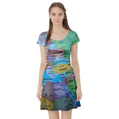 Globe World Map Maps Europe Short Sleeve Skater Dress