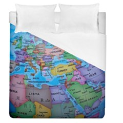 Globe World Map Maps Europe Duvet Cover (queen Size)