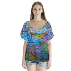 Globe World Map Maps Europe V Neck Flutter Sleeve Top