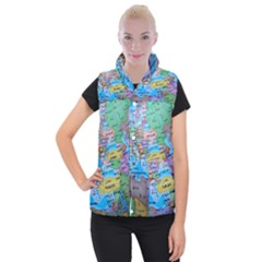 Globe World Map Maps Europe Women s Button Up Vest