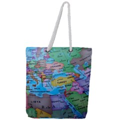 Globe World Map Maps Europe Full Print Rope Handle Tote (large)
