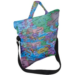 Globe World Map Maps Europe Fold Over Handle Tote Bag