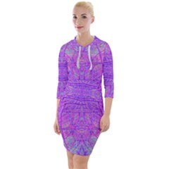 Hot Pink And Purple Abstract Branch Pattern Quarter Sleeve Hood Bodycon Dress